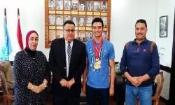Dr. Gaber receives Karate champion Ahmed El Masry